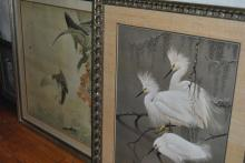 Collection of nine framed works of art, ornithological subjects, many signed prints, and Asian.