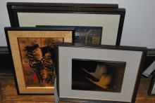 Group of four Asian framed works: including, enamel, tile, and temple rubbings.