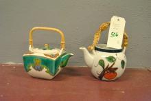 Two Asian design tea pots