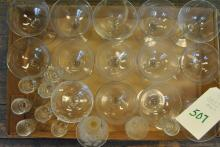 Collection of champagne and licquor glasses, some etched