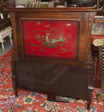 Semi antique Asian influenced headboard and footboard depicting applied figure in a landscape