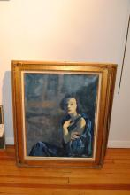 Mary Ann McFall, American (20th century), Portrait of a woman, seated in a blue dress, 1993, oil on canvas,
