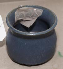 Small blue glaze studio pot, height 3 1/2 inches