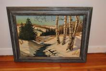 Dorothy Holst, 20th century, Winter landscape, oil on board,