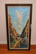 E. L. Karasek, 20th century, Waterfall in mountainous village, oil on canvas, 40 x 18 inches