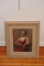 Schulman, Early 20th century, Eastern European, Portrait of a woman, , oil on board,