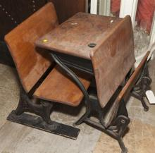 Pair of childs school desks with cast iron bases