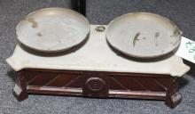 Antique Victorian wooden and marble table top scale with copper plates, label affixed