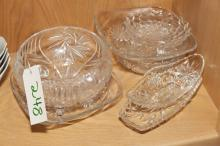 Collection of seven crystal bowls and serving dishes.