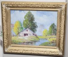 Gilt framed oil on canvas, Eureks Springs exterior scene with barn and stream signed lower right