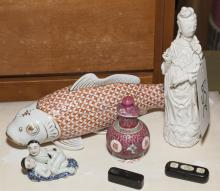 Lot of five Asian items including a porcelain figure of a woman,
