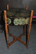 Asian design shaped lidded box on a faux bamboo stand