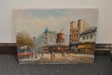 Unframed oil on canvas, European street scene signed Burnett lower right