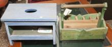 Green painted cedar garden tool box from the Gifted Gardener together with blue painted stool.