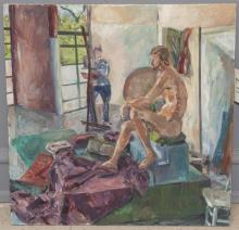 Charles Edelman, American, 20th Century, Male nude in artist's studio, 1976, acrylic on canvas, 30 x 30 inches