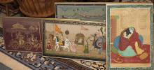 Colllection of four framed Indian prints, three on fabric depicting various scenes with figures