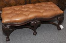 Maitland Smith Chippendale style banquette with claw and ball feet, camel colored leather upholstered tufted top