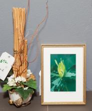 Asian design planter featuring water lilies, turtle, and frog with bamboo reeds and floral design together with framed print signed...
