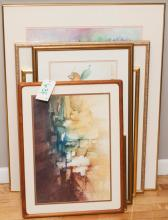 Collection of nine framed works of art including pastels, watercolors and prints, mostly botanical subjects.