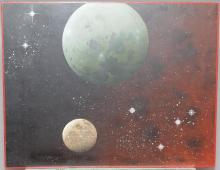Dhimitri Zonia, American (1921-2016), Planets, oil on board, 16 x 20 inches