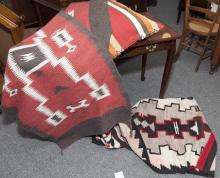 Four pieces, pillow and hand woven rugs, some navajo