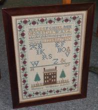 Heloise Williams, 10, reproduction needlework sampler, framed, 17 1/4 x 12 3/8 in.
