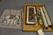 Collection of Asian articles including two scroll paintings, carvedwood panel, porcelain beads, pillowcase with printed elephant