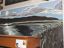 Acrylic on board depicting a scene of the Missouri river