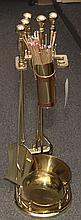 Set of gilt metal fireplace tools