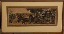 French School, 20th Century, Promenade, 1912, aquatint, 8 1/2 x 24 inches