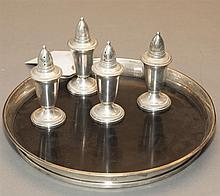 Gorham sterling silver and black formica galleried drink's tray and four Crown Silver Inc