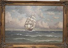 Oil on canvas depicting ship at sea, signed J