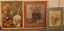 Group of original works of art, watercolor of floral still life, signed VDS, two chalk drawings of still lives,