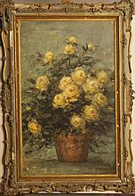 DH Grant, 20th century, still life of yellow flowers, oil on canvas, signed lower right, framed