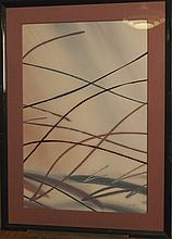 Pair of abstract watercolors, in tones of green black and mauve, framed