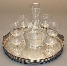 Wilcox/International, plated silver galleried tray with crystal bottle and six goblets, total 8 pieces