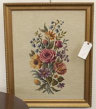 Gilt framed needlework botanical still life