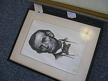 Framed work depicting Abraham Lincoln