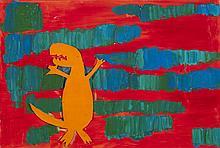 American School, Dinosaur, mixed media