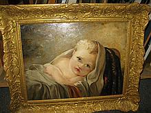 English School, late 19th-early 20th century, Baby in blanket, oil on panel, unsigned, gilt-framed.