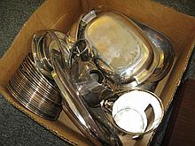 Collection of modern American plated silver items, most by Reed & Barton including covered entree dish, bowls, trays, gravy boats, c...