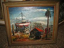 Framed oil on canvas painting of a shipyard, signed Grace Fox Thobley