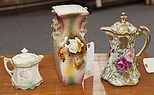 Group of porcelain items all with floral design, Nippon lidded chocolate pot with raised decoration, Royal Fenton English vase, chip...
