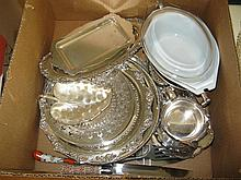 Collection of plated silver serving pieces, 6 round trays and plates, bread tray, rectangular and leaf form dishes, Pyrexs covered d...