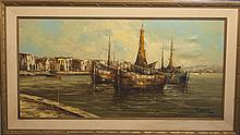 Oil painting on canvas, signed Peter, depicting harbor scene with ships.