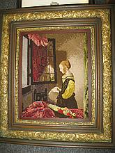 Pictorial needlework after Flemish painting, framed, 18 1/2 x 14 in., (sight)