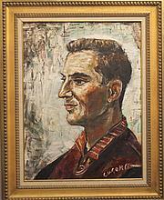 Pascal Cucaro, (1915-2004), Portrait of a man, oil on masonite,