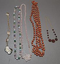 Collection of necklaces including rose quartz bead necklace, abalone, bohemian garnet, coral bead necklace (broken), etc