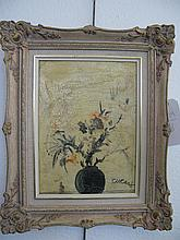 Pascal Cucaro, (1915-2004), Floral still life, oil on canvas board, 11 x 8 1/2 inches