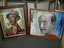 Pascal Cucaro, (1915-2004), Two portraits, oil paintings on masonite,